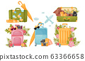Travel Compositions with Luggage Bag and Tourist Attributes Decorated with Floral Arrangement Vector Set 63366658