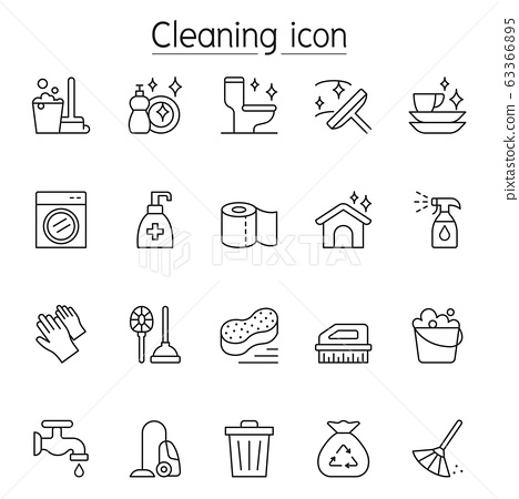 Cleaning icon set in thin line style 63366895
