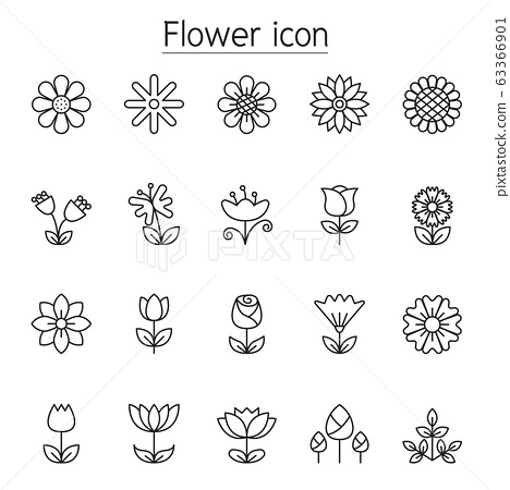 Flower icon set in thin line style 63366901