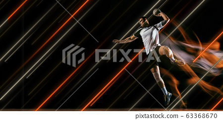Creative sport and neon lines on dark background, flyer, proposal 63368670