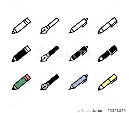 筆和鉛筆圖標/削尖/圓珠筆/標記 63368889