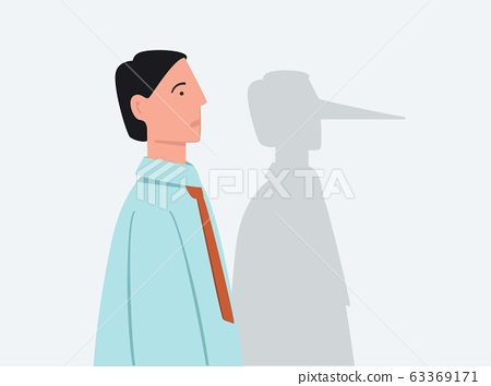 Cartoon businessman with shadow of long lie nose vector flat illustration 63369171