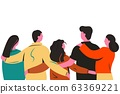 Group of cartoon friends standing and hugging together back view vector flat illustration 63369221