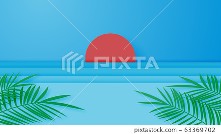 Summer vacation poster or banner with the sun, sea. 63369702