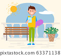 Teenager Holding Smartphone in Summer Hot Weather 63371138