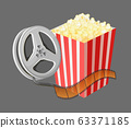 Movie Elements, Popcorn and Reel with Tape Vector 63371185