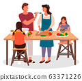 Family Cooking in Kitchen, Children and Parents 63371226