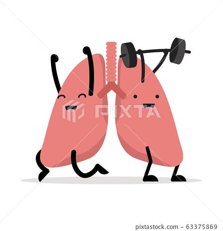 healthy happy lungs cartoon vector 63375869