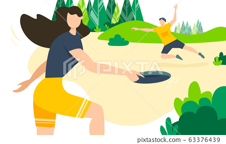 Faceless man and woman wearing shorts and t-shirts playing frisbee and having fun in park. Girl throws disk through the air and guy catching. Sports in everyday life. Healthy spring outdoor activity. 63376439