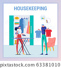 Housekeeping, Wife Waiting to Iron Tshirt for Man. 63381010