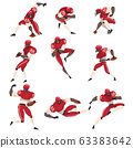 Collection of American Football Players, Male Athlete Characters in Red Sports Uniform and Protective Helmets in Action Vector Illustration 63383642