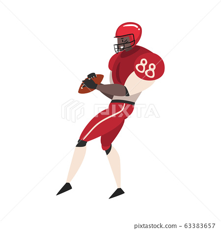 American Football Player with Ball, Male Athlete Character in Red Sports Uniform, Side View Vector Illustration 63383657