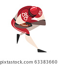 American Football Player Running with Ball, Male Athlete Character in Red Sports Uniform Vector Illustration 63383660