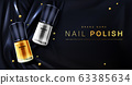 Nail polish 3d bottles gold and silver palette 63385634