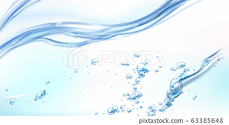 Fresh clean water wave with bubbles and drops 63385648