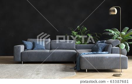 Interior of living room  63387681