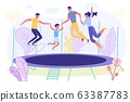 Happy Family Jumping on Trampoline Rest Together 63387783