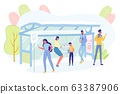 People Stand on Bus Stop and Chatting Mobile Phone 63387906