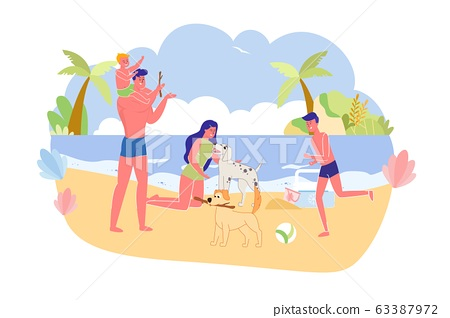 Big Family with Favorite Pets on City Beach Banner 63387972
