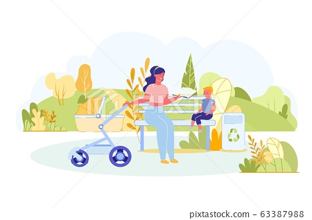 Mom Sits on Bench and Communicates with Sons. 63387988