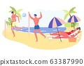 Couples Spend Weekend Together on Beach, Cartoon. 63387990