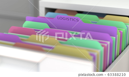 File with logistics data in the office file cabinet. 3D rendering 63388210