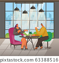 People Drink Coffee in Cafe, Cityscape in Window 63388516