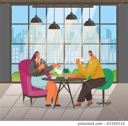 People Drink Coffee in Cafe, Cityscape in Window 63388516