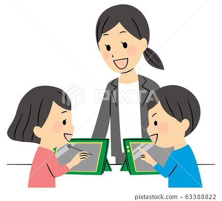 小学生在课堂上使用平板电脑 63388822