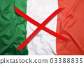 Crossed out flag of Italy, curfew concept 63388835