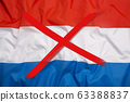 Crossed out flag of Netherlands, curfew concept 63388837
