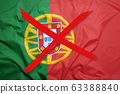 Crossed out flag of Portugal, curfew concept 63388840