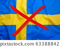 Crossed out flag of Sweden, curfew concept 63388842