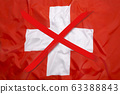 Crossed out flag of Switzerland, curfew concept 63388843