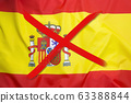 Crossed out flag of Spain, curfew concept 63388844