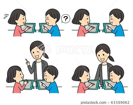 小學生在課堂上使用平板電腦 63389062