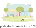 Comfortable Wood Gazebo and Playground on Lawn 63389779