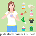 Female Character Eating Yogurt and Meal Collection 63390541