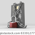 3d rendering of credit card with chains and pad lock, cplipping path included 63391277