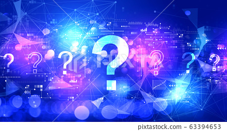 Question marks with technology light background 63394653