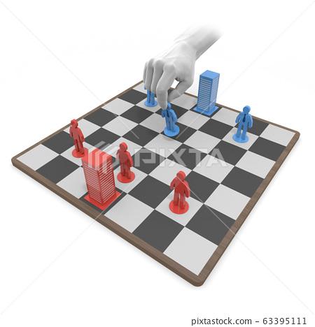 시장 점유율 경쟁. 경쟁 관계의 회사. 3D 렌더링 시장 점유율을 경쟁. 라이벌 63395111