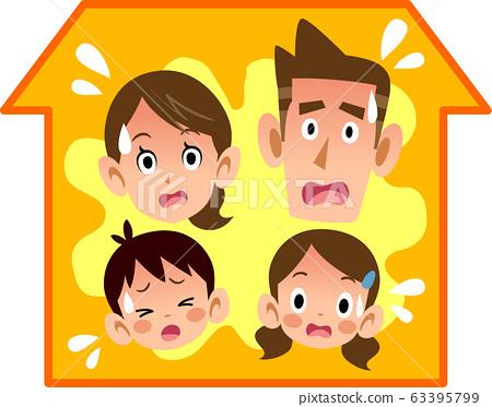집안의 더위에 곤란 가족 63395799