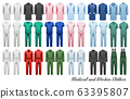 Big collection of medical and worker clothes. 63395807