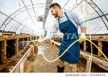 Man working on a farm with snails 63396456
