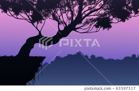 Natural forest mountains horizon hills silhouettes of trees. Evening Sunrise and sunset. Landscape wallpaper. Illustration vector style. Colorful view background. 63397317