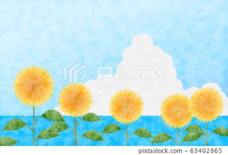 背景材料:向日葵,大海和烏云密布 63402865