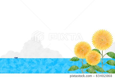 背景材料:向日葵,大海和烏云密布 63402868