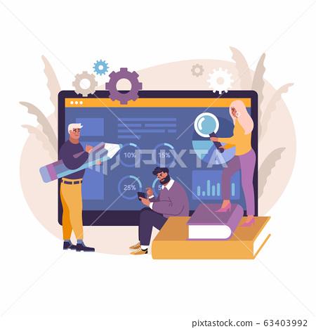 business, people, design, vector, concept, flat, illustration, finance, technology, background, development, web, teamwork, office, internet, data, analytics, character, chart, businessman, work, anal 63403992