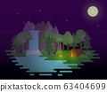 Night camping scenery. Flat design landscape with 63404699