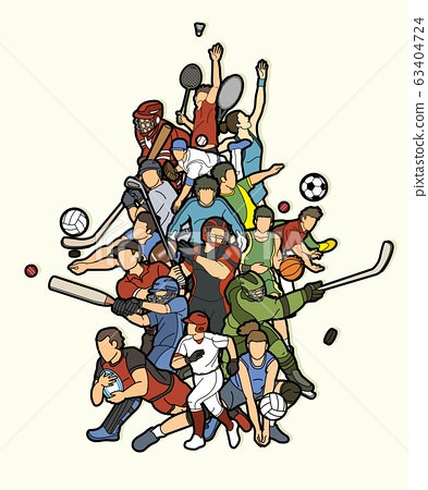 Sports Mix Sport players action  cartoon graphic vector 63404724